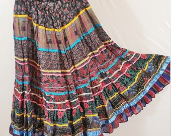 Multicolored Long Skirt Vintage Size M