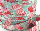 "English Rose Garden - 5 Yards Printed FOE - 5/8"" Fold Over Elastic - 5/8-P-329"