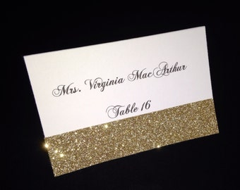 White Matte Printed Folded Placecard with Gold Glitter Accent