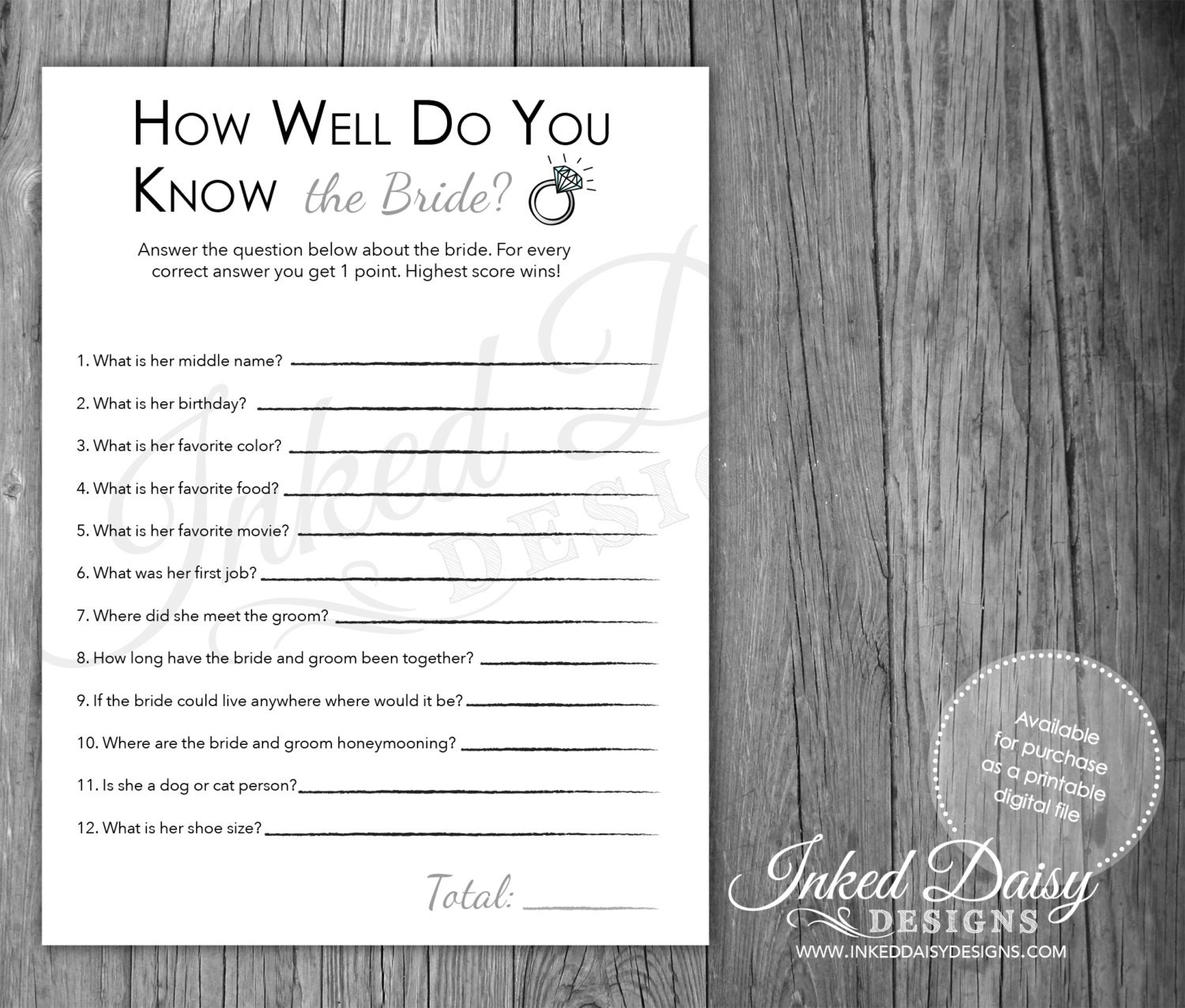 Bride And Groom Trivia Questions: INSTANT DOWNLOAD How Well Do You Know The BRIDE Quiz Bridal