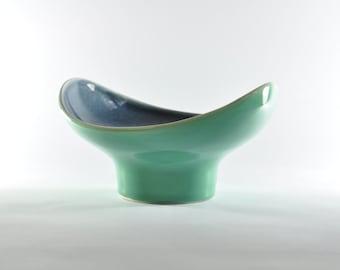 Mid Century Pottery Fruit Bowl, White Ceramic Bowl, Blue Ceramic Bowl, Ceramic Bowl, Ceramics and Pottery, Pottery Bowl, Mid Century Bowl