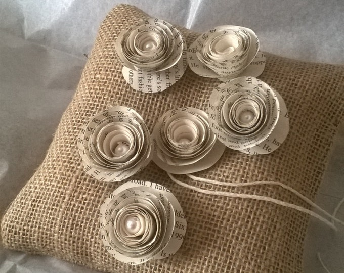 Book Page Rolled Flowers, Hessian Ring Bearer Pillow , Book Page Flower Ring Cushion, Made to order, Free Shipping