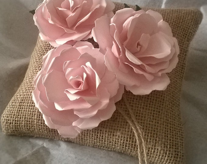 Burlap Ring Bearer Pillow with Three Pink Roses, Ring Cushion, Made to order