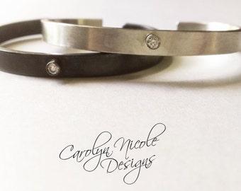 Diamond and Oxidized Sterling Silver Cuff Bracelet