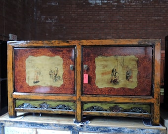 Antique Mongolian Storage Credenza with Lacquered Doors and Chinese Motif (Los Angeles)