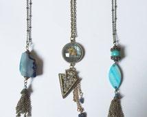 Trendy boho long necklaces layering necklace gemstone bohemian chic modern Agate tassel Druzy arrow tribal seashell summer fashion turquoise