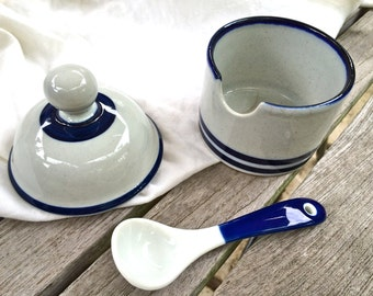 Vintage Dansk Blue Mist Lidded Condiment Jam Jelly Jar with Spoon