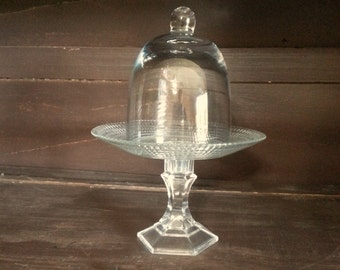 Vintage Upcycled glass Pedestal Cupcake Stand Candy Buffet Display Jar