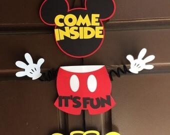 Mickey Mouse Door Hanger - Come Inside It's Fun Inside