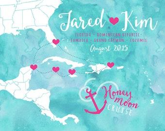 Honeymoon Cruise Map Custom Art Print , Cozumel, Mexico, Grand Cayman Islands Jamaica, Montego Bay, Beach, Tropical Honeymoon, Wedding Gift