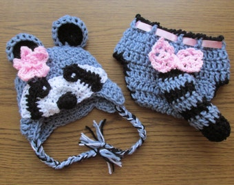 Racoon crochet hat and Diaper cover Set