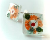 Fused glass earrings - Tribal studs - Sterling silver post earrings - Eco-friendly ethnic earrings - Orange glass studs