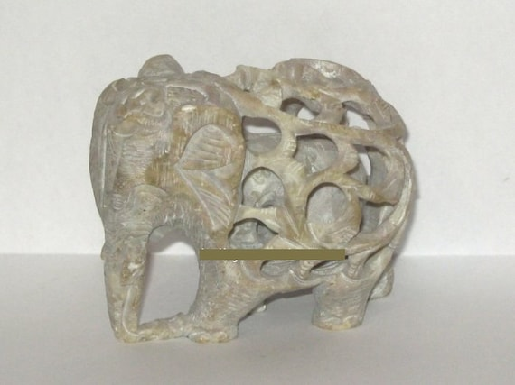 Carved Soap Stone Elephant and Baby Inside by ...