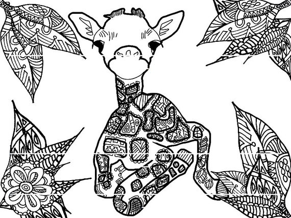 Items similar to Giraffe Coloring Page on Etsy