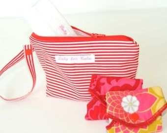 SMALL Wet Dry bag for cloth pads with PUL / Option separate PUL bag/ Stripy Red