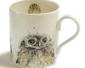 Owl Mug - Fine Bone China, Bird Lovers Gift, Country Kitchen Gift, Woodland Theme, Hygge