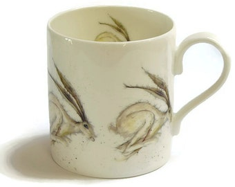 Hadley Hare Mug, Fine Bone China, Country Kitchen, Woodland Animal Gift