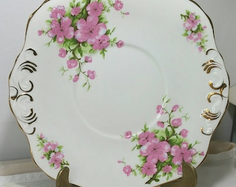 Vintage Pink cherry blossom cake plate made by H & M Sutherland, great for weddings. CP034