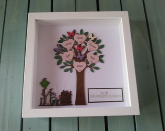 Handmade Framed Wooden Family tree with up to 8 Names and name Plaque