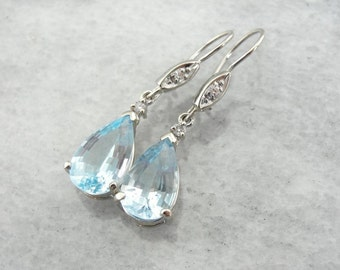 Blue Topaz Drop Earrings With Diamond Accents NY134Z-D