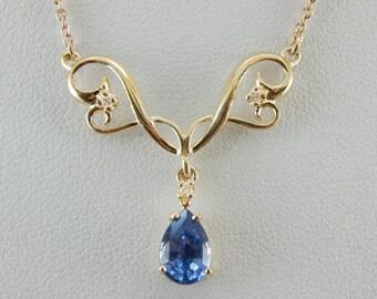 Fine Sapphire Necklace, Sleek Yellow Gold Sapphire And Diamond Necklace  JNJUYR-P