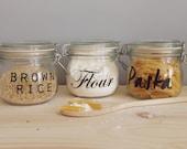 10 - 24  Pack Jar Labels -  Vinyl Pantry Labels - Home Organisaton