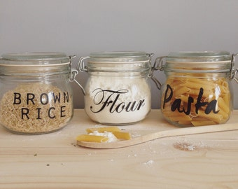 Jar Labels -  10 - 24  Pack - NEW FONTS -  Vinyl Pantry Labels - Home Organisaton