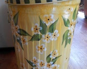 Hand Painted Galvanized  Metal  - 20 Gallon - Trash/Garbage/Storage Can w/Side Handles and Tight Fit Lid