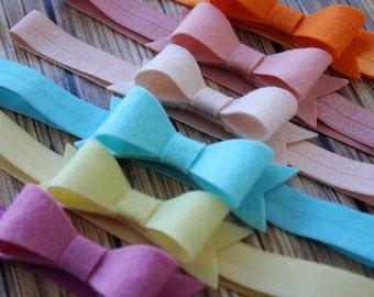 Felt bow headband - 2 bows - Choose your colors - baby, toddler, girs bow headband
