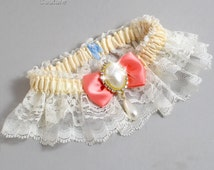 Ivory and Coral Wedding Garter Lace Bridal Garter 871 Ivory & 816 Woodrose Gold Prom Garter Plus Size Queen Size