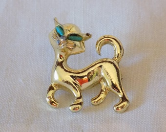 Vintage Cat Pin with Green Eyes