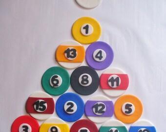 16 BILLIARD BALL Pool Edible Fondant Cupcake Toppers