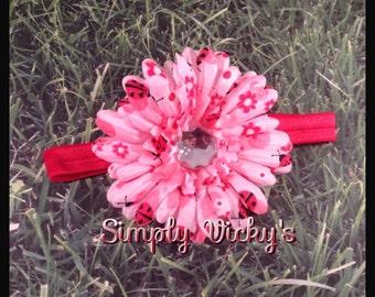Ladybug Flower Hair Clip with Headband