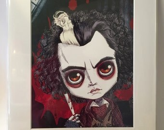 "Johnny Depp as Sweeney Todd in ""Sweeney Todd, the Demon Barber of Fleet Street"" 11x14"" Art Print by deShan"