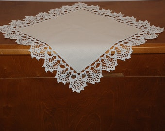 Linen Tablecloth Doily Square Crocheted Lace Hanmade