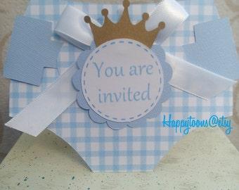 Diaper babyshower invitation,  set of 25 invitations. Royal babyshower invitation, elegant babyshower invitation, boy babyshower invitation