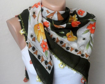 green scarf multicolor scarf cotton scarf handmade scarf floral print scarf womans scarves green shawls oya scarf fashion scarf gift for her