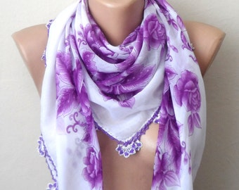 white scarf lavender scarf lilac floral print scarf cotton scarf turkish yemeni oya scarf woman scarf fashion aceessories gift for her