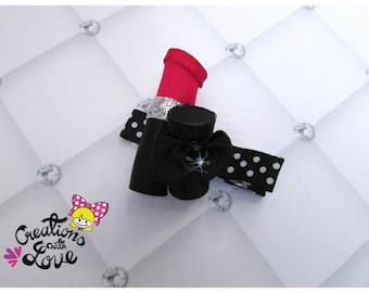 Lipstick Ribbon Sculpture Hair Clip.