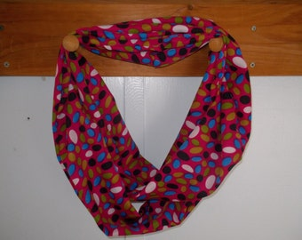 "Infinity Scarf. Pink with multi colored dots.  Approx 5"" x 72"".  Great light weight scarf to add color  to your outfit."
