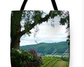 Photo: Winery Vineyard, Yamhill County Oregon landscape | verdant green landscape, purple flowers, pastoral hillside - Shower Curtain