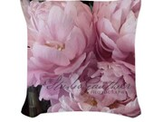 Designer throw pillow cover, reversible. Back is blue cakes dusty rose pillow case | pale pink peony pillow | Les Pivoines Roses
