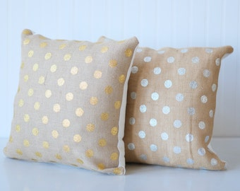Burlap pillow, gold dot pillow for your home decorative throw pillow with gold dots