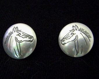 Sterling Silver Horse Earrings - Unique - Lightweight - Western - 1970s