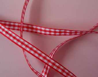 Quality Woven Edge 7mm Red Gingham Ribbon