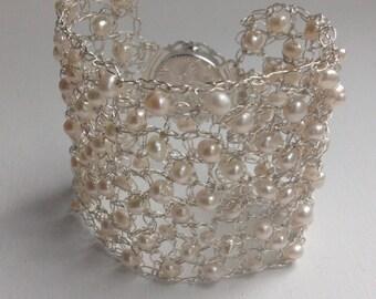Pearl Cuff Bracelet Wedding Bridal Bracelet Wire Knitted Crochet Bracelet Wire Jewelry Hand knitted Cuff Bracelet Pearl bracelet
