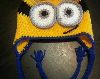 Crochet Two Eyed Minion Ear Flap Hat