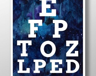 Printable Art - Cosmic Eye Chart - Digital Photo Download - Wall Art - Instant Download - Eye Chart Art - Eye Chart Poster - Poster Print