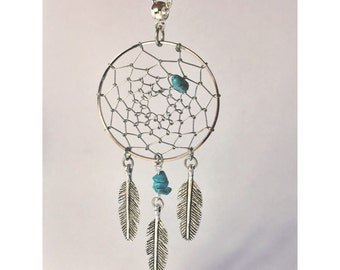 Silver dream catcher necklace with silver feather charms and turquoise bead insert silver dreamcatcher