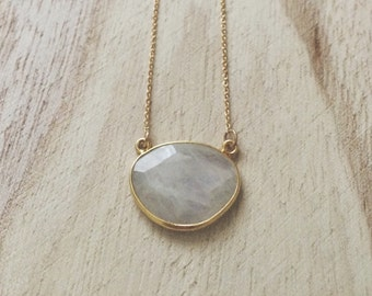 Moonstone + Gold necklace, moonstone necklace, gold necklace, necklace, moonstone and gold necklace, moonstone and gold